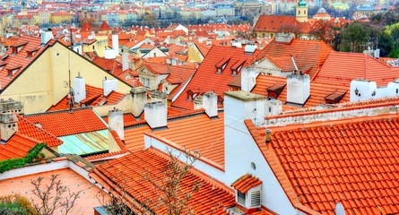 Aerial view of the typical red tiled roofs in Old Town Prague.