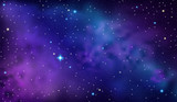 Purple Sky with Nebula and Stars - 185181908