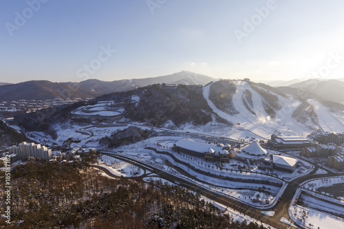 Tuinposter Chocoladebruin PYEONGCHANG, SOUTH KOREA: Winter view of ski resort in Pyeongchang, South Korea. PYEONGCHANG, SOUTH KOREA/2016