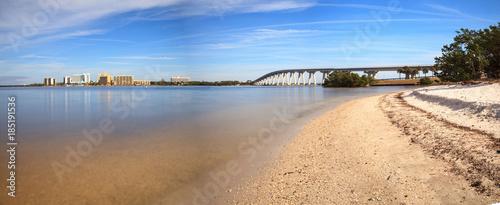 View from the beach of Sanibel Causeway bridge, - 185191536