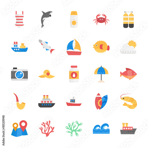 Fototapeta Sea Life Flat Vector Icons Set