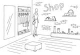 Shop interior graphic black white sketch illustration vector - 185205949