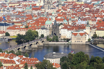 Panoramic View of Prague the capital of Czech Republic with Charles bridge