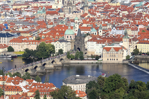 Panoramic View of Prague the capital of Czech Republic with Charles bridge Poster