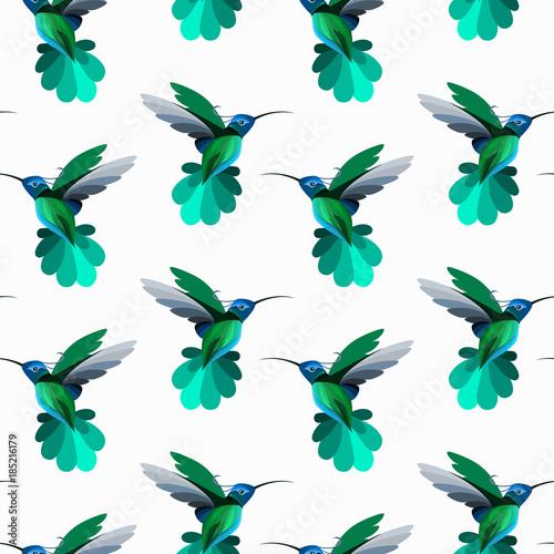 Wektorowy bezszwowy wzór z hummingbirds, colibri. Tekstura tapety, projektowanie tkanin, tła strony internetowej