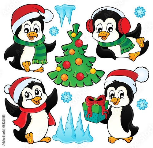 Fotobehang Voor kinderen Christmas penguins thematic set 1