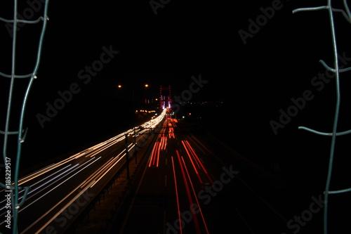 Fotobehang Nacht snelweg Fatih Sultan Mehmet Bridge