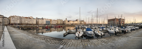 Panoramic view of the marina and typical modernist galleries in the city of La Coruña