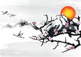 Traditional Korean / Japanese background for greeting cards, with mountains, blossom branches and flying crane birds.