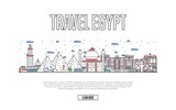 Egyptian tourism poster with famous architectural attractions in linear style. Worldwide traveling, time to travel concept. Egyptian landmarks with pyramids and minaret, city skyline vector background - 185235794