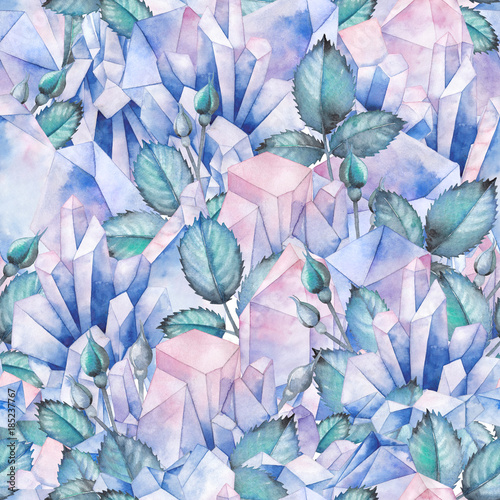 Watercolor pattern with crystals and rose leaves - 185237767