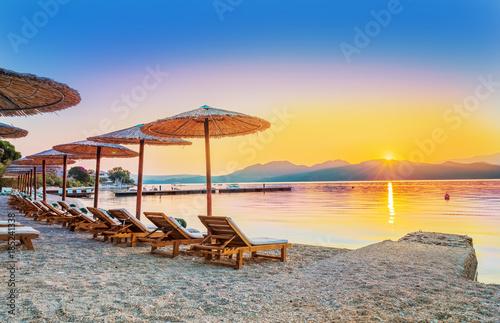 Aluminium Purper Beautiful sunrise over Nikiana beach in summer holiday, Lefkada island, Greece