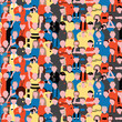 Seamless vector pattern of crowd people at football stadium.
