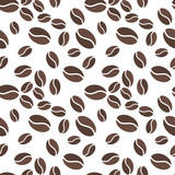 Brown coffee beens vector seamless pattern