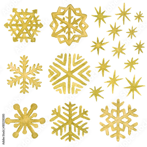 obraz lub plakat Watercolor snowflakes and stars in gold. Christmas and New Year clip art collection