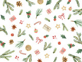 Watercolor vector Christmas card with fir branches, gifts and cones. - 185271342