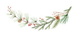 Watercolor vector Christmas wreath with fir branches and place for text. - 185271376