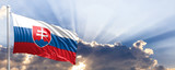 Slovakia flag on blue sky. 3d illustration