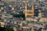 Aerial view on Saint-Sulpice Church and Paris rooftops at sunset (mansard and dormer roofs). 6th Arrondissment, Paris, France - 185274346