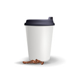 Plain paper cup mockup with coffee beans. Realistic vector template. Blank cup with lid isolated on the white background.