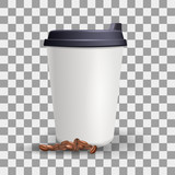Blank and paper cup mockup. Realistic vector template. Plain cup with lid and coffee beans on the transparent background.