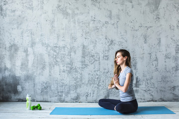Yoga. Woman in lotus relax.