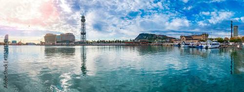 Fotobehang Barcelona Barcelona Port Vell panorama with overhead cableway to Mount Montjuic