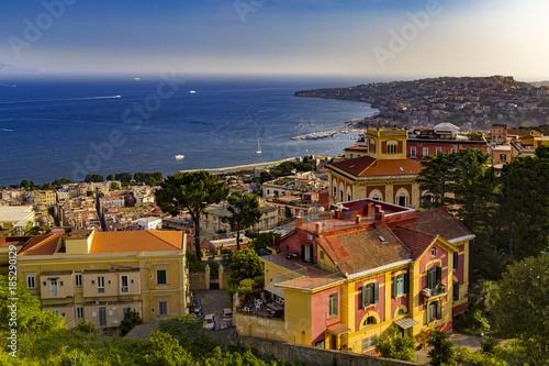 Fotobehang Napels Italy. Cityscape of Naples (Vomero and Mergellina) seen from Castle Sant'Elmo