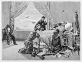 Garibaldi dying on his death bed taken care by his sad family in a room in Caprera. By E. Matania published on Garibaldi e i Suoi Tempi Milan Italy 1884 - 185305320