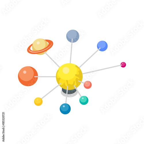 Fototapeta Solar system model isometric 3d icon