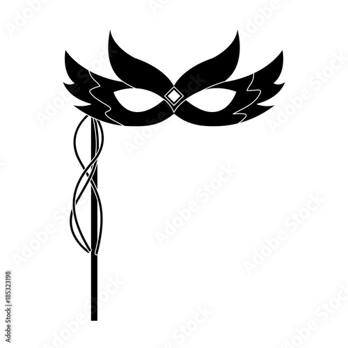 mask decorated carnival accessory icon image vector illustration design  black and - 185323198