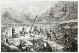 Ancient gold prospectors working hardly in a gold quarry surrounded by the nature   in California. By Chassevent after previous engraving by unknown author published on Le Tour du Monde Paris 1862 - 185332918