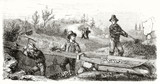 Ancient french gold miners in California working on the Long Tom (long washing box). Created by Chassevent after previous engraving by unknown author published on Le Tour du Monde Paris 1862 - 185332943