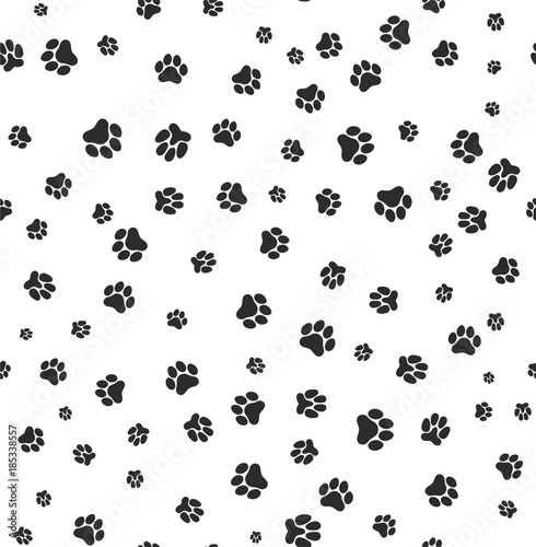 obraz PCV Dog paw print seamless. Template for your design. Vector illustration. Isolated on white background