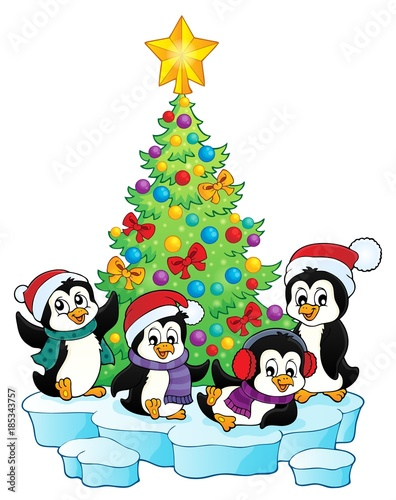 Fotobehang Voor kinderen Christmas tree and penguins image 1