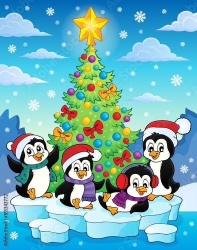 Fotobehang Voor kinderen Christmas tree and penguins image 2