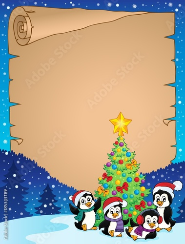 Fotobehang Voor kinderen Christmas tree and penguins parchment 1