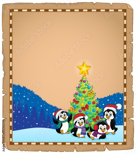 Fotobehang Voor kinderen Christmas tree and penguins parchment 2