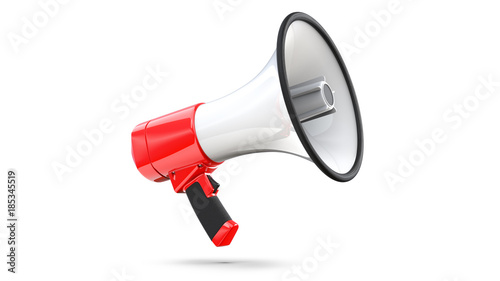 Red and white megaphone isolated on white background. 3d rendering of bullhorn, file contains a clipping path to isolation