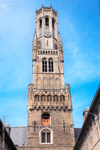 Foto op Canvas Brugge Bruges Belfry Tower, called the Belfort. Medieval bell tower in the historical centre of Bruges, Belgium
