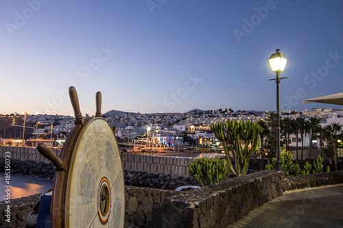 Foto op Canvas Canarische Eilanden Puerto del Carmen, old port, twilight, Lanzarote, Canary Islands, Spain