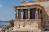 The Caryatides in the Erechtheion part of Erechtheum at Acropolis of Athens. This temple was completed 406 BC and dedicated to Athena and Poseidon. - 185356377