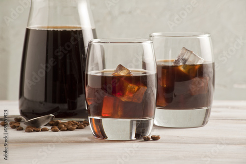 Cold brew coffee glasses and bottle. - 185359123