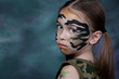 портрет девочки, ребенка, образ военный, солдат