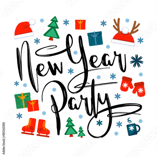 In de dag Retro sign new year party, inscription and christmas icons and symbols on a white background. Vector illustration, Great design element for congratulation cards, banners and other
