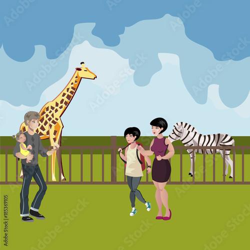 Aluminium Zoo Zoo cartoon people with animals scene