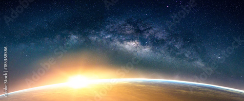 Aluminium Zonsopgang Landscape with Milky way galaxy. Sunrise and Earth view from space with Milky way galaxy. (Elements of this image furnished by NASA)