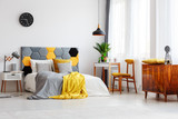 Wooden cupboard in cozy bedroom - 185377559