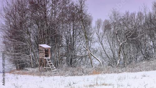 Fotobehang Purper zima na Warmii