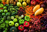 Different fresh fruits and vegetables organic for eating healthy and dieting - 185382984